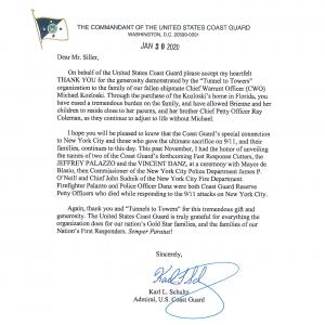 Letter from USCG Admiral Karl Schultz on behalf of Fallen CWO Michael Kozloski
