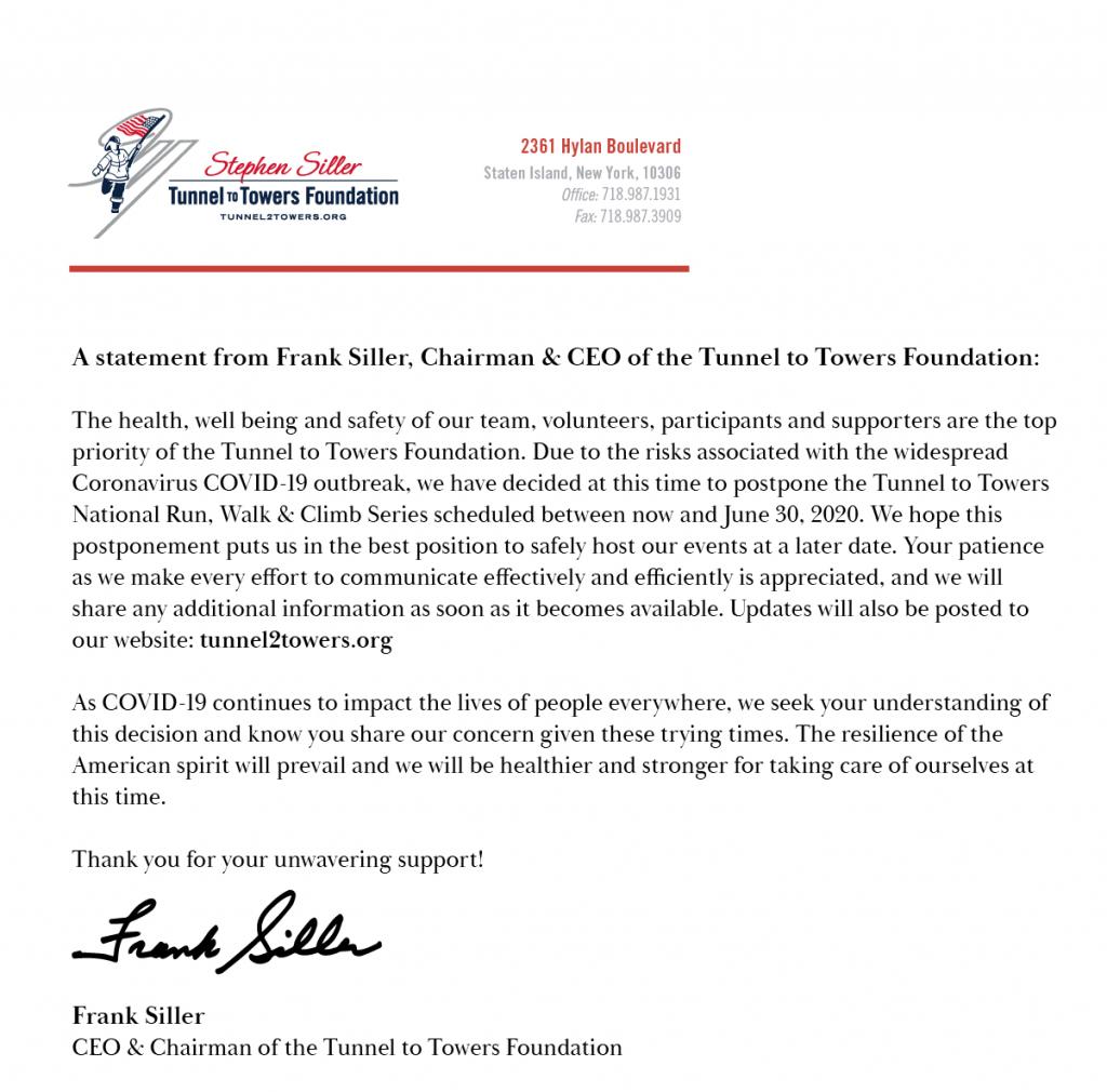 National Run, Walk & Climb Series Postponed Due to Coronavirus